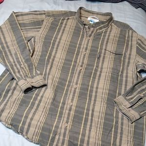 Columbia Long Sleeve Button Up Plaid Gray Tan XL